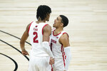 Wisconsin's Aleem Ford (2) celebrates with D'Mitrik Trice (0) after Ford hit a shot as time expired to end the first half of an NCAA college basketball game against Penn State at the Big Ten Conference tournament, Thursday, March 11, 2021, in Indianapolis. (AP Photo/Darron Cummings)