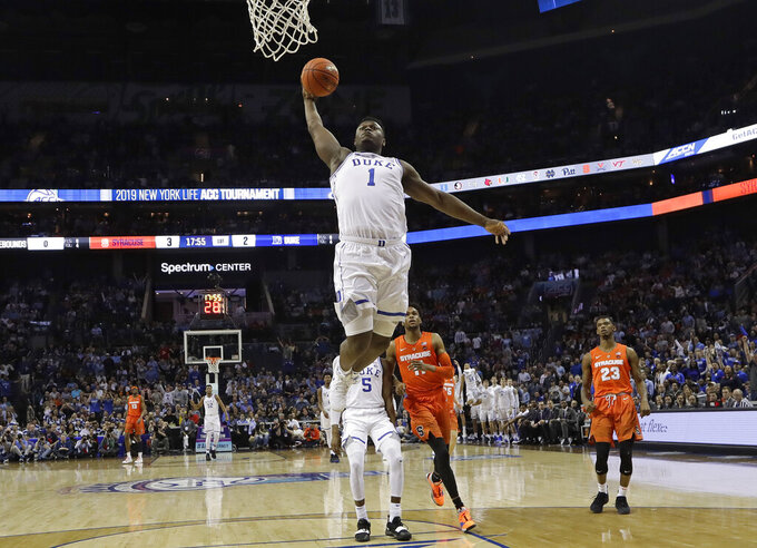 Duke star rookie Zion Williamson back for Syracuse in ACCs