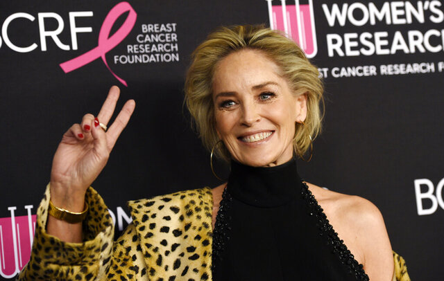 FILE - In this Feb. 28, 2019, file photo, actress Sharon Stone poses at the 2019