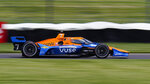 Felix Rosenqvist of Sweden drives during practice for the IndyCar auto race at Indianapolis Motor Speedway in Indianapolis, Friday, May 14, 2021. (AP Photo/Michael Conroy)