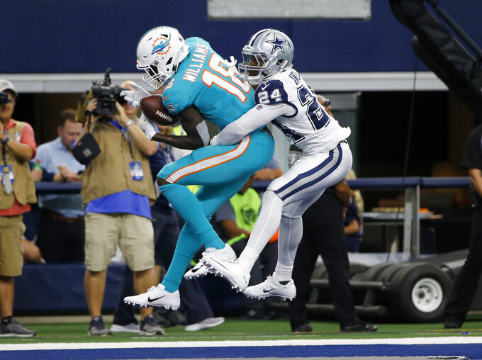 Miami Dolphins wide receiver Preston Williams (18) has a pass-attempt in the end zone broken up by Dallas Cowboys cornerback Chidobe Awuzie (24) in the first half of na NFL football game in Arlington, Texas, Sunday, Sept. 22, 2019. (AP Photo/Michael Ainsworth)