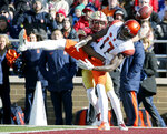 Boston College defensive back Lukas Denis breaks up a pass in the end zone intended for Syracuse wide receiver Jamal Custis (17) during the first half of an NCAA college football game, Saturday, Nov. 24, 2018, in Boston. (AP Photo/Mary Schwalm)