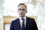 German Foreign Minister Heiko Maas speaks during a press conference with his Iranian counterpart Mohammad Javad Zarif after their talks in Tehran, Iran, Monday, June 10, 2019. Zarif warned the U.S. on Monday that it