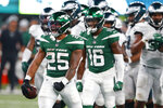 New York Jets running back Ty Johnson (25) reacts after a play during the second half of an NFL preseason football game against the Philadelphia Eagles Friday, Aug. 27, 2021, in East Rutherford, N.J. (AP Photo/Noah K. Murray)