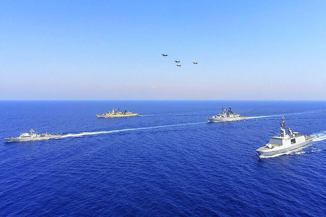 In this photo provided on Monday, Aug. 31, 2020, by the Greek Defense Ministry, worships from Greece, Italy, Cyprus and France, participate in a joint military exercise which was held from 26-28 of August, south of Turkey in eastern Mediterranean sea.  Turkey on Monday, Aug. 31, accused Greece of