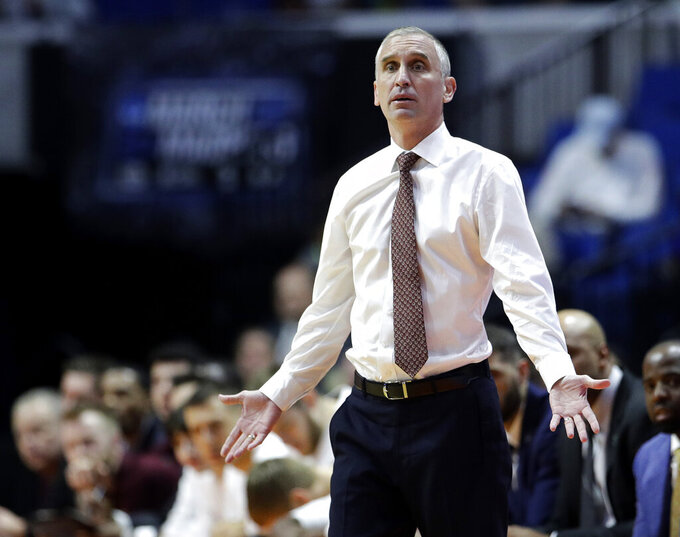 Arizona State head coach Bob Hurley questions a call during the first half of a first round men's college basketball game against Buffalo in the NCAA Tournament Friday, March 22, 2019, in Tulsa, Okla. (AP Photo/Charlie Riedel)