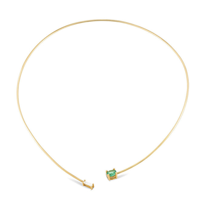 This photo shows the emerald and diamond open collar necklace by Sandy Leong. Keep the handmade cards, bouquets or breakfasts in bed coming this Mother's Day, but up your game in celebration of brighter days ahead with a store-bought gift. (Sandy Leong x Gemfields via AP)