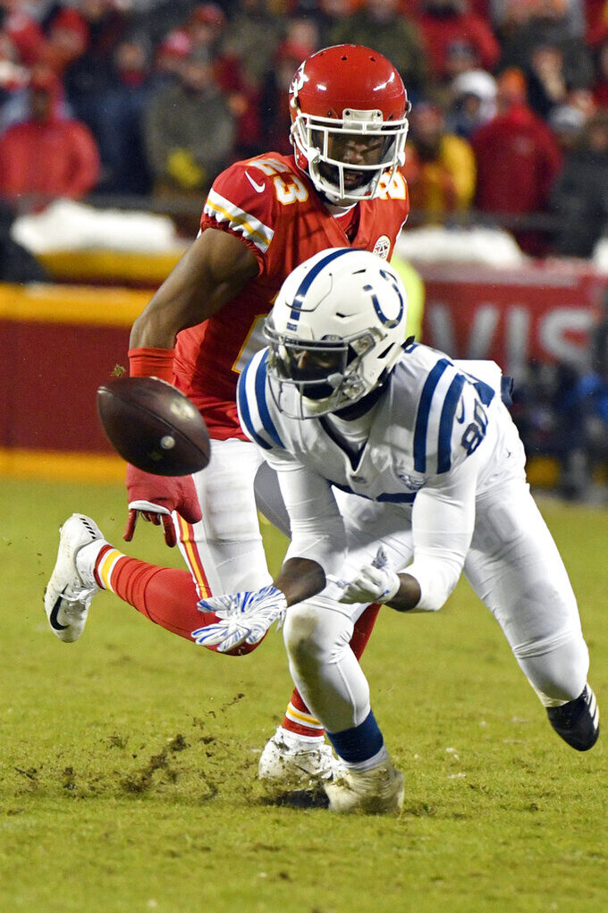 Indianapolis Colts wide receiver Chester Rogers (80) makes a catch against Kansas City Chiefs cornerback Kendall Fuller (23) during the second half of an NFL divisional football playoff game in Kansas City, Mo., Saturday, Jan. 12, 2019. (AP Photo/Ed Zurga)