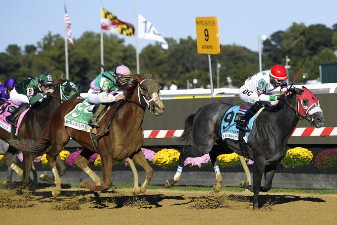 Miss Marissa (9), with Daniel Centeno aboard, runs down the track to win the Black Eyed Susan horse race at Pimlico Race Course, Saturday, Oct. 3, 2020, in Baltimore. (AP Photo/Nick Wass)