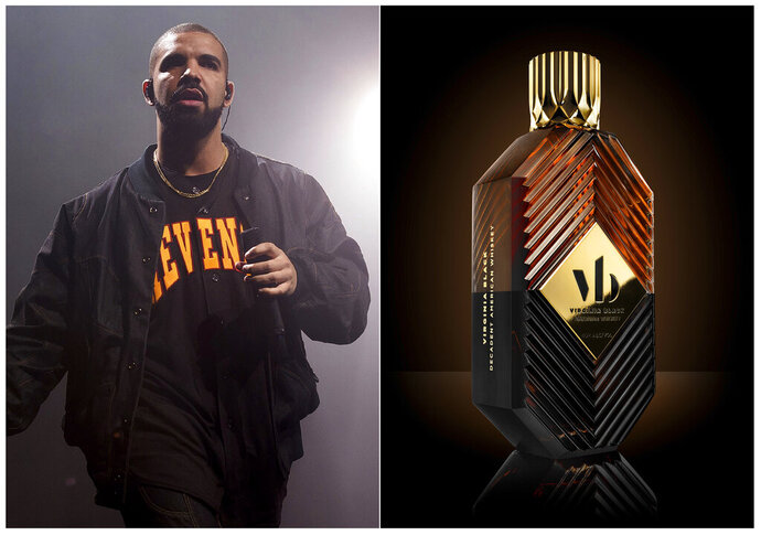 This combination photo shows Drake performing as part of the Summer Sixteen Tour in New York on Aug. 5, 2016, left, and his Virginia Black Decadent American Whiskey. Celebrities are deep into the liquor and wine business with their own brands that are particularly gifty for drink-loving fans. (AP Photo, left, and Virginia Black via AP)