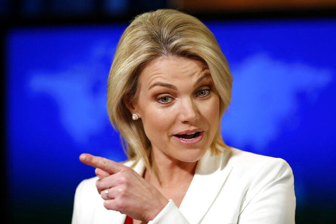 FILE - In this Aug. 9, 2017, file photo, State Department spokeswoman Heather Nauert speaks during a briefing at the State Department in Washington. Trump announced Friday he's nominating State Department spokeswoman Heather Nauert to be the next U.S. ambassador to the United Nations.  (AP Photo/Alex Brandon, File)