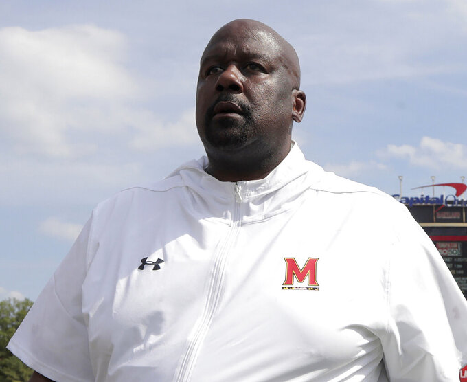 FILE - In this Aug. 31, 2019, file photo, Maryland head coach Michael Locksley walks with his team after an NCAA college football game against Howard, in College Park, Md. Nebraska  (4-6, 2-5 Big Ten) travels to Maryland  (3-7, 1-6) for a Saturday, Nov. 23 game. (AP Photo/Julio Cortez, File)