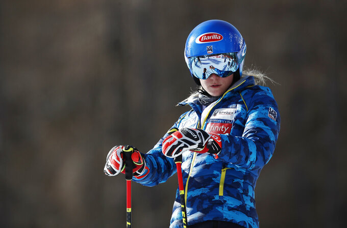 United States' Mikaela Shiffrin waits prior to the start of a women's giant slalom, at the alpine ski World Championships in Cortina d'Ampezzo, Italy, Thursday, Feb. 18, 2021. (AP Photo/Gabriele Facciotti)