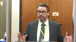 In this image taken from video, defense attorney Eric Nelson questions witness Los Angeles police department Sgt. Jody Stiger, as Hennepin County Judge Peter Cahill presides Wednesday, April 7, 2021, in the trial of former Minneapolis police Officer Derek Chauvin at the Hennepin County Courthouse in Minneapolis. Chauvin is charged in the May 25, 2020 death of George Floyd. (Court TV via AP, Pool)