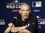 FILE - In this Oct. 3, 2017 file photo, New York Yankees manager Joe Girardi speaks during a news conference before an American League wild-card baseball playoff game against the Minnesota Twins in New York.   Person familiar with deal tells AP the Philadelphia Phillies are hiring Girardi as manager, Thursday, Oct. 24, 2019.  (AP Photo/Frank Franklin II, File)