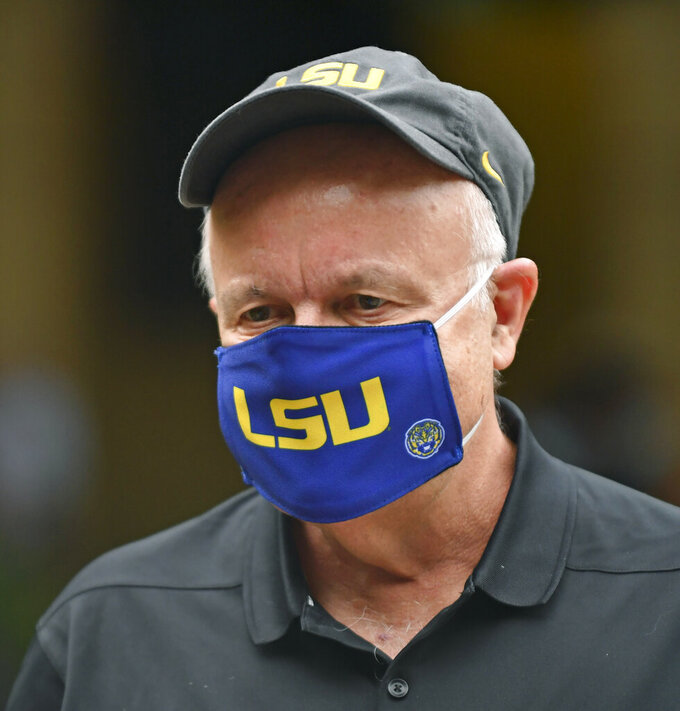 Louisiana State University interim president Tom Galligan speaks during a planned peaceful blackout Wednesday demonstration to call for unity and promote change on campus, Wednesday, June 3, 2020, in the quad at LSU in Baton Rouge, La. Galligan, criticized for the school's response to a widespread sexual misconduct scandal, announced Tuesday, April 20, 2021, that he's withdrawing his name from the search for a permanent system leader. (Hilary Scheinuk/The Advocate via AP)