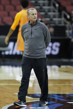 Tennessee head coach Rick Barnes watches during practice for the NCAA men's college basketball tournament, Wednesday, March 27, 2019, in Louisville, Ky. (AP Photo/Michael Conroy)