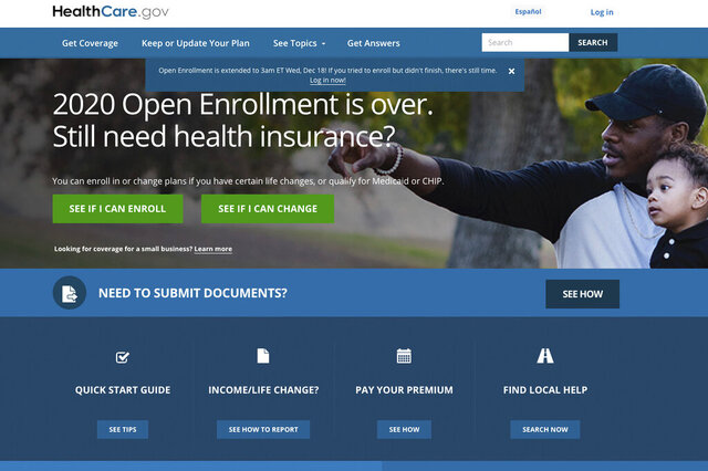 FILE - This screen grab from the website HealthCare.gov shows the extended deadline for signing up for health care coverage for 2020.   (Centers for Medicare and Medicaid Services via AP, File)