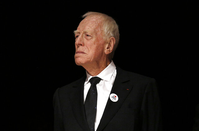"""FILE  - In this Friday, Oct. 16, 2015 file photo, actor Max Von Sydow attends the Lumiere Award ceremony of the 7th Lumiere Festival in Lyon, central France. Max von Sydow, the self-described """"shy boy""""-turned-actor who played the priest in the horror classic """"The Exorcist,"""" has died. He was 90, it was reported on Monday, March 9, 2020. He was known to art house audiences through his work with Swedish director Ingmar Bergman. But it was his role as the devil-evicting priest in William Friedkin's controversial 1973 film"""