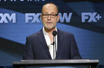 FILE - In this Aug. 3, 2018 file photo, John Landgraf, CEO, FX Networks and FX Productions, participates in the executive panel during the FX Television Critics Association Summer Press Tour in Beverly Hills, Calif. Although streaming services like Netflix feels like the future, networks are still the only distribution system capable of delivering 100 million streams of a perfect picture to virtually every home in America, said Landgraf. (Photo by Willy Sanjuan/Invision/AP, File)