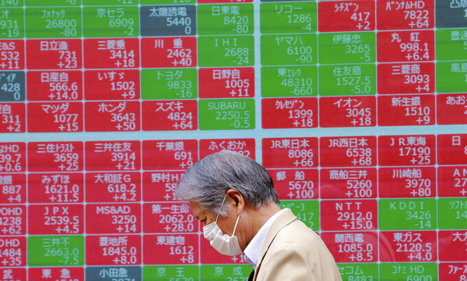 A man walks by an electronic stock board of a securities firm in Tokyo, Monday, June 28, 2021. Asian stock markets declined Monday after Wall Street hit a new high as investors looked ahead to manufacturing indicators from Japan, China and South Korea.( (AP Photo/Koji Sasahara)