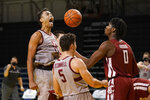 Stanford forward Oscar da Silva, left, celebrates after scoring and being fouled with teammate Michael O'Connell (5) in front of Washington State center Efe Abogidi (0) during the second half of an NCAA college basketball game in Santa Cruz, Calif., Saturday, Jan. 9, 2021. (AP Photo/Jeff Chiu)