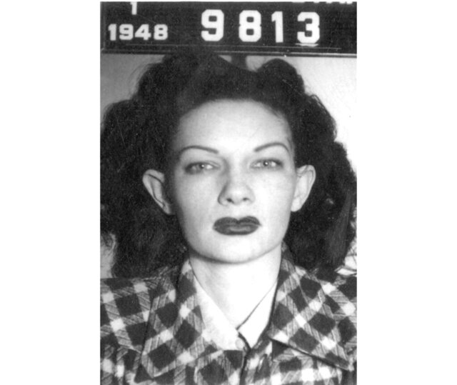 This 1948 police booking photo courtesy of Weber State University, Special Collections, shows Rossette Davie, also known as Rose Davie. Weber State University scholars are trying to unlock a mystery after discovering a nearly 70-year-old transcript of an interview with the notorious madam. She ran the Rose Rooms brothel with her husband, Bill Davie, in the 1940s and 1950s.The 1951 transcription is written in a decades-old shorthand style that few people use today. Weber State Universityhistorians are asking for help from anyone who might be able to read the dictation. (Weber State University, Special Collections, via AP)