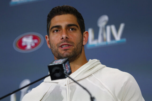 San Francisco 49ers quarterback Jimmy Garoppolo speaks during a media availability, Thursday, Jan. 30, 2020, in Miami, for the NFL Super Bowl 54 football game against the Kansas City Chiefs. (AP Photo/Wilfredo Lee)