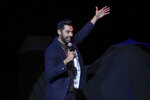 "FILE - In this Nov. 7, 2017 file photo, comedian Hasan Minhaj performs on stage during the 11th Annual Stand Up for Heroes benefit, presented by the New York Comedy Festival and The Bob Woodruff Foundation, at the Theater at Madison Square Garden, in New York. Minhaj, of Netflix's ""Patriot Act with Hasan Minhaj,"