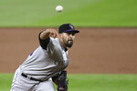 Colorado Rockies starting pitcher Antonio Senzatela throws against the Seattle Mariners in the third inning of a baseball game Friday, Aug. 7, 2020, in Seattle. (AP Photo/Elaine Thompson)