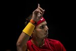 Spain's Rafael Nadal plays against Argentina's Diego Schwartzman during a Davis Cup quarterfinal match in Madrid, Spain, Friday, Nov. 22, 2019. (AP Photo/Bernat Armangue)