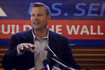 FILE _ in this Monday, July 8, 2019 file photo, former Kansas Secretary of State Kris Kobach addresses the crowd as he announces his candidacy for the Republican nomination for the U.S. Senate in Leavenworth, Kan. Even though U.S. Secretary of State Mike Pompeo has declared a Senate run to be