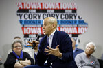 FILE - In this Jan. 9, 2020 file photo, Democratic presidential candidate, Sen. Cory Booker, D-N.J., speaks during a campaign event in North Liberty, Iowa. Booker has dropped out of the presidential race after failing to qualify for the December primary debate. (AP Photo/Patrick Semansky)