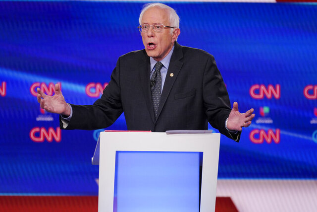 Sen. Bernie Sanders, I-Vt., participates in a Democratic presidential primary debate with former Vice President Joe Biden at CNN Studios, Sunday, March 15, 2020, in Washington. (AP Photo/Evan Vucci)