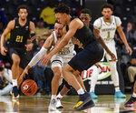 Pittsburgh guard Trey McGowens (2) collides with Georgia Tech guard Jose Alvarado (10) during the first half of an NCAA college basketball game Wednesday, Feb. 20, 2019, in Atlanta. (AP Photo/Danny Karnik)
