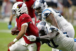 Arizona Cardinals quarterback Kyler Murray (1) is sacked by Carolina Panthers linebacker Mario Addison (97) during the second half of an NFL football game, Sunday, Sept. 22, 2019, in Glendale, Ariz. (AP Photo/Ross D. Franklin)