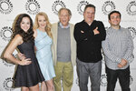 "FILE - Cast members of the ABC sitcom ""The Goldbergs,"" from left, Hayley Orrantia, Wendi McLendon-Covey, George Segal, Jeff Garlin, and Troy Gentile appear at Paley Center Presents ""The Goldbergs: Your Trip To The 1980's"" on April 28, 2014 in Beverly Hills, Calif. Segal, the banjo player turned actor who was nominated for an Oscar for 1966's ""Who's Afraid of Virginia Woolf?,"" and starred in the ABC sitcom ""The Goldbergs,"" died Tuesday, his wife said. He was 87.  (Photo by Richard Shotwell/Invision/AP, File)"