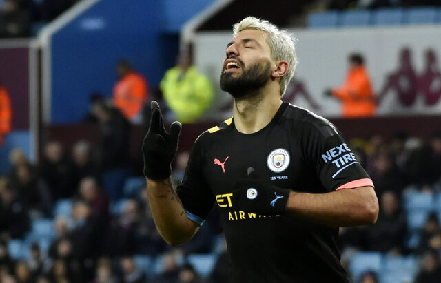 Manchester City's Sergio Aguero celebrates after scoring his side's sixth goal during the English Premier League soccer match between Aston Villa and Manchester City at Villa Park in Birmingham, England, Sunday, Jan. 12, 2020. (AP Photo/Rui Vieira)