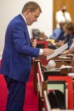 Rep. Destin Hall speaks in favor of HB 324 during debate on the the House floor on Wednesday, Sept. 1, 2021 in Raleigh, N.C. (Robert Willett/The News & Observer via AP)
