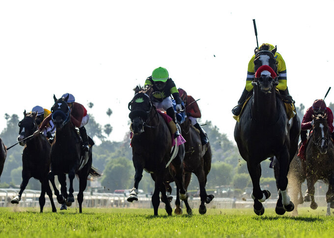 In a photo provided by Benoit Photo, Blitzkrieg and jockey Victor Espinoza, right front, win the Grade III, $100,000 American Stakes horse race Sunday, June 21, 2020, at Santa Anita in Arcadia, Calif. (Benoit Photo via AP)