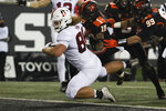 Stanford tight end Tucker Fisk (88) lands in the end zone for a touchdown during the first half of the team's NCAA college football game against Oregon State in Corvallis, Ore., Saturday, Dec. 12, 2020. (AP Photo/Amanda Loman)