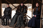 This image released by HBO shows from left to right Maisie Williams, Isaac Hempstead Wright and Sophie Turner in a scene from the final episode of