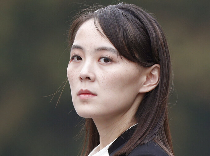 FILE - In this March 2, 2019, file photo, Kim Yo Jong, sister of North Korea's leader Kim Jong Un attends a wreath-laying ceremony at Ho Chi Minh Mausoleum in Hanoi, Vietnam. North Korea has threatened to end an inter-Korean military agreement reached in 2018 to reduce tensions if the South fails to prevent activists from flying anti-Pyongyang leaflets over the border. The powerful sister said Thursday, June 4, 2020, the North could permanently shut a liaison office with the South and an inter-Korean factory park in the border town of Kaesong, which have been major symbols of reconciliation between the rivals.  (Jorge Silva/Pool Photo via AP, File)