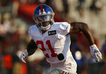 FILE - In this July 31, 2021, file photo, New York Giants safety Jabrill Peppers runs a drill during an NFL football training camp in Newark, N.J. The Giants take on the Denver Broncos on Sunday.  (AP Photo/John Munson, File)