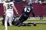 Mississippi State safety Paul Blackwell (43) dives on a Missouri fumble in the end zone for a touchdown during the first half of an NCAA college football game, Saturday, Dec. 19, 2019, in Starkville, Miss. (AP Photo/Rogelio V. Solis)