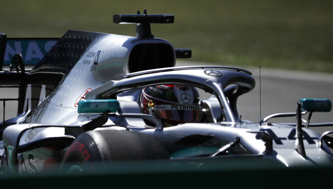Mercedes driver Lewis Hamilton of Britain steers his car during the Spanish Formula One race at the Barcelona Catalunya racetrack in Montmelo, just outside Barcelona, Spain, Sunday, May 12, 2019. (AP Photo/Emilio Morenatti)