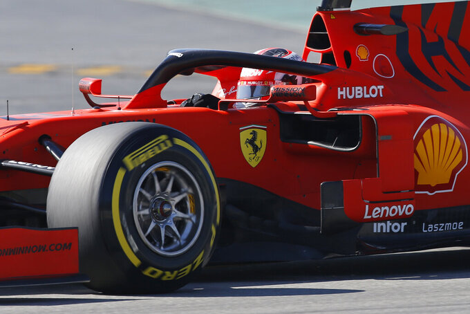 FILE - In this file photo dated Tuesday, Feb. 26, 2019, Ferrari driver Charles Leclerc of Monaco during a Formula One pre-season testing session at the Catalunya racetrack in Montmelo, outside Barcelona, Spain. Previewing the upcoming 2019 season, Leclerc is touted as F1's next big star waiting in the wings to gain Ferrari's top spot. (AP Photo/Joan Monfort)