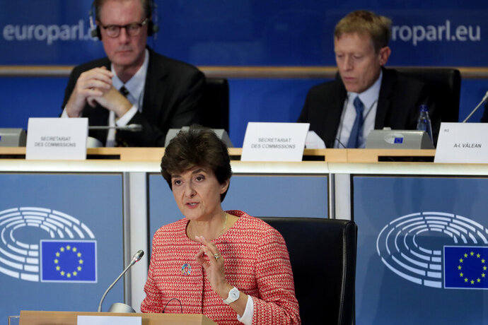 European Commissioner designate for Internal Market Sylvie Goulard makes her opening address during her hearing at the European Parliament in Brussels, Wednesday, Oct. 2, 2019. (AP Photo/Virginia Mayo)