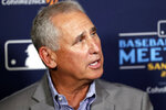 Colorado Rockies manager Bud Black speaks at the Major League Baseball winter meetings Wednesday, Dec. 11, 2019, in San Diego. (AP Photo/Gregory Bull)
