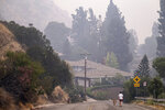 A resident and her dog walk along Highland Oaks Drive under a heavy pall of smoke Monday, September 14, 2020. The Bobcat fire continues to burn in the foothills of Los Angeles County churning out a heavy smoke causing very unhealthful air quality throughout most of the region. (David Crane/The Orange County Register via AP)